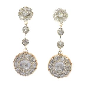 Antique Rose Cut Diamond Long Pendant Earrings, Circa 1900