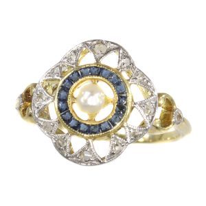 Antique Art Deco Sapphire, Diamond and Pearl Ring