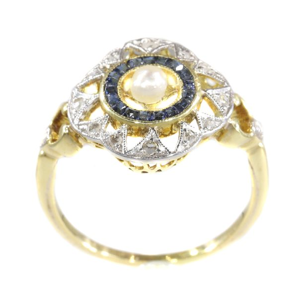 Antique Art Deco Sapphire Diamond and Pearl Ring