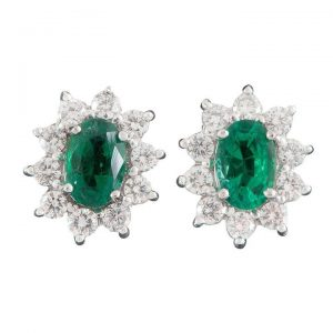 0.80ct Emerald and Diamond Oval Cluster Stud Earrings, 18ct Gold
