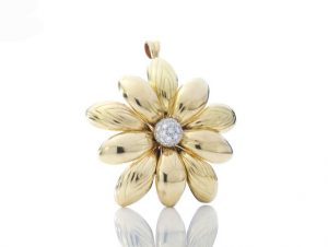 Vintage 1ct Diamond and 18ct Yellow Gold Flower Brooch Pendant