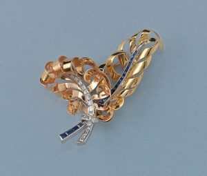 Vintage French Retro 18ct Gold, Diamond and Sapphire Feather Brooch