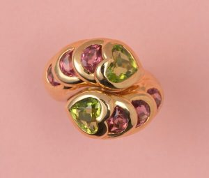 Vintage Peridot and Pink Tourmaline Heart Ring in 18ct Yellow Gold