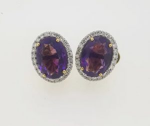 8.00ct Amethyst and Diamond Oval Cluster Studs Earrings in 18ct Gold