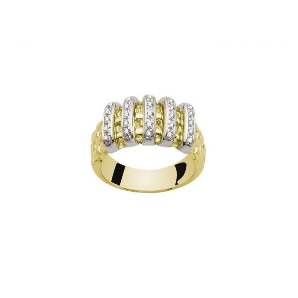 Fope Virginia 18ct Yellow Gold Ring, woven textured design, accented with five diamond-set bars, 0.22 carat total, ring size M.