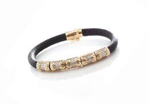 Saisei Japanese 3.75ct Diamond and 18ct Gold Set Leather Bracelet