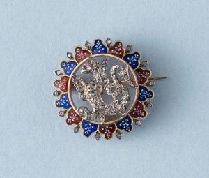 Antique Victorian Rose Cut Diamond and Plique A Jour Dragon Brooch