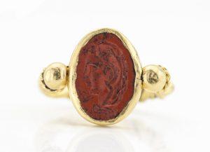 Ancient 3rd Century AD Roman Empire Jasper Good Luck Intaglio Ring