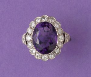 Art Deco Amethyst and Diamond Oval Cluster Ring