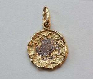 Vintage Chaumet 18ct Gold Cancer Pendant, Signed, Paris, Circa 1970