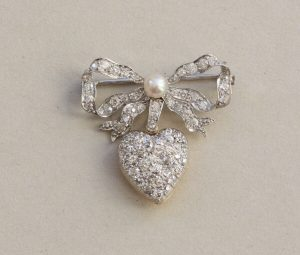 Antique Edwardian Diamond and Pearl Bow and Heart Locket Brooch