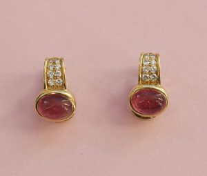 Vintage Bulgari Pink Tourmaline, Diamond and 20ct Gold Clip On Earrings