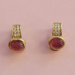 Vintage Bulgari Pink Tourmaline, Diamond and 20ct Yellow Gold Clip On Earrings; set with oval cabochon cut pink tourmalines, Signed, c.1980