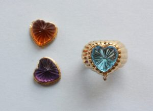 Heart Shaped Interchangeable Ring with Citrine, Amethyst and Blue Topaz