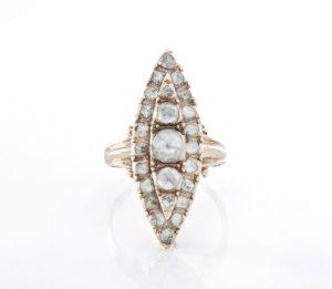 Antique Georgian 2.46ct Rose Cut Diamond Navette Ring, 15ct Gold
