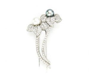 Natural South Sea and Akoya Pearl and 3ct Diamond Floral Brooch