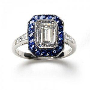 2.01ct Emerald Cut Diamond and Sapphire Cluster Ring, F VS2, Platinum