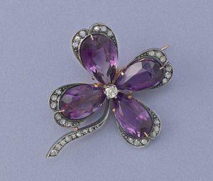 Art Nouveau Amethyst and Diamond Four Leaf Clover Brooch