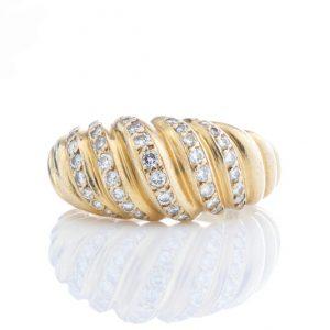 Cartier Vintage Diamond set 18ct Yellow Gold Ring, 0.78 carat total, Fully hallmarked Cartier Paris 750, with original box