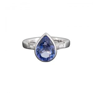 4.13ct Pear Shaped Tanzanite and Diamond Ring, in Platinum