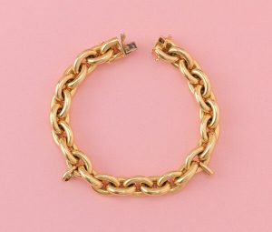 Vintage French 18ct Yellow Gold Link Bracelet, Circa 1980