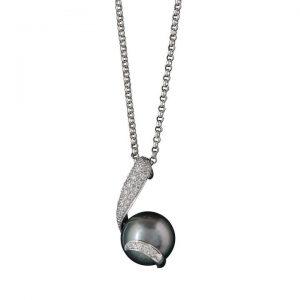Dark Grey Pearl and Diamond Pendant in 18ct White Gold