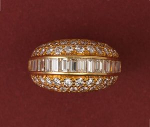Vintage 3.20ct Diamond Bombe Dress Ring in 18ct Yellow Gold