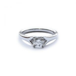 0.61ct Diamond and Platinum Single Stone Ring with Forked Shoulders