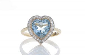 Edwardian Style 6ct Aquamarine and Diamond Heart Cluster Ring