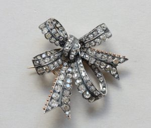 Antique Victorian 3.4ct Old Cut Diamond Double Bow Brooch, Circa 1880