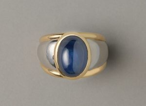 Vintage 11.87ct Cabochon Sapphire, Gold and Platinum Dress Ring