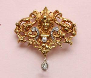 Antique Edwardian Diamond Set 18ct Gold Neo Renaissance Brooch