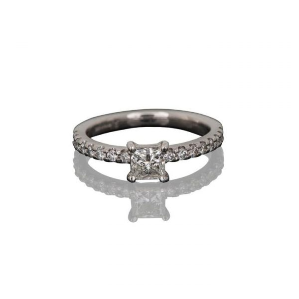 0.70ct Princess Cut Diamond Ring, accented with 0.31cts brilliant cut diamond-set shoulders, 1.01 carat total, mounted in 18ct white gold.
