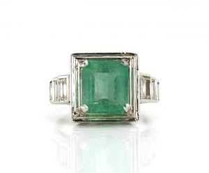 4.20ct Natural Colombian Emerald and Baguette Diamond Ring, Certified