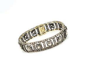 Antique Victorian 11.18ct Rose Cut Diamond Bracelet in Silver and Gold