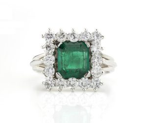 1.43ct Colombian Emerald and Diamond Square Cluster Ring, Certified