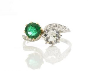 Natural Colombian Emerald and Diamond Crossover Ring in Platinum