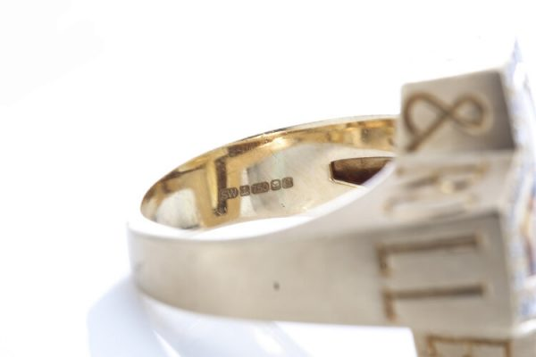 Stephen Webster Sex Drugs Rock and Roll Citrine and Diamond Ring, Made in London 2006, Fully hallmarked 18ct yellow gold