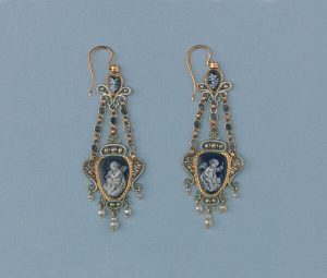 Antique Enamel, Pearl and 18ct Gold Double Sided Chandelier Earrings