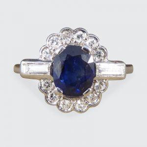 Antique Art Deco 1.25ct Sapphire and Diamond Cluster Platinum Ring