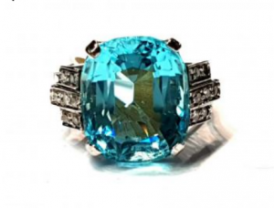Antique Art Deco Aquamarine and Diamond Dress Ring