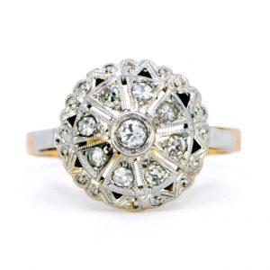 Antique Art Deco Diamond Cluster 18ct Gold Ring