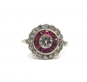 Antique Art Deco Ruby and Diamond Target Ring