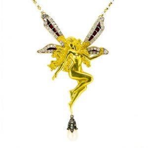 Antique Art Nouveau Fairy Diamond Pearl and Plique-à-jour Necklace