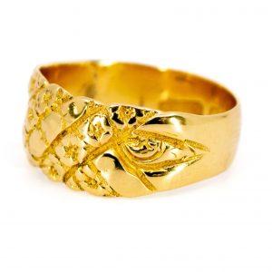 Antique Art Nouveau Floral Gold Band Ring