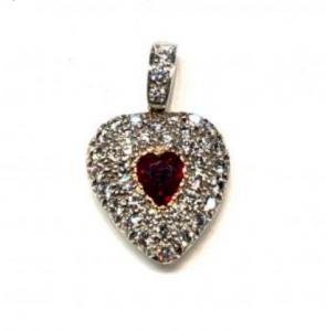 Antique Edwardian Heart Shaped Ruby and Diamond Locket Pendant