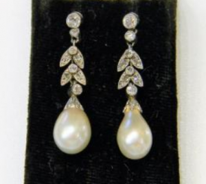 Antique Edwardian Natural Pearl and Diamond Drop Earrings