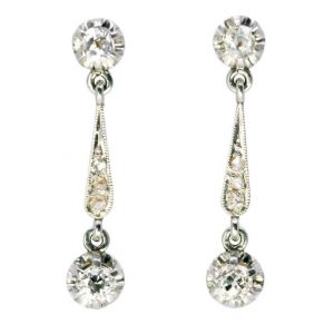 Antique Edwardian Old Mine Cut Diamond Earrings