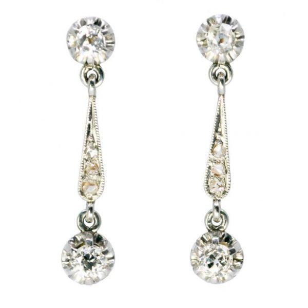 Antique Edwardian Old Mine Cut Diamond Earrings Jewellery Discovery