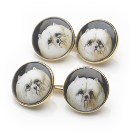 Antique Edwardian Pomeranian Dog Enamel Cufflinks